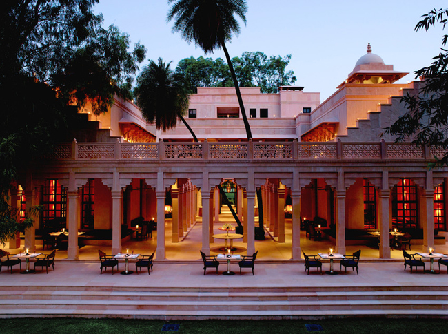 Guests on Aman'sPrivate Jet Expeditionreceiveaccommodationsinluxurious upscale resorts, including theAmanbagh resort in India.