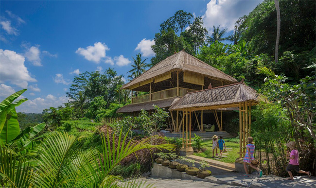 The Mandapa Camp facility at Mandapa, a Ritz-Carlton Reserve, in Ubud, Indonesia is offering kiddy yoga a part of the resort's new Mini Explorers program.