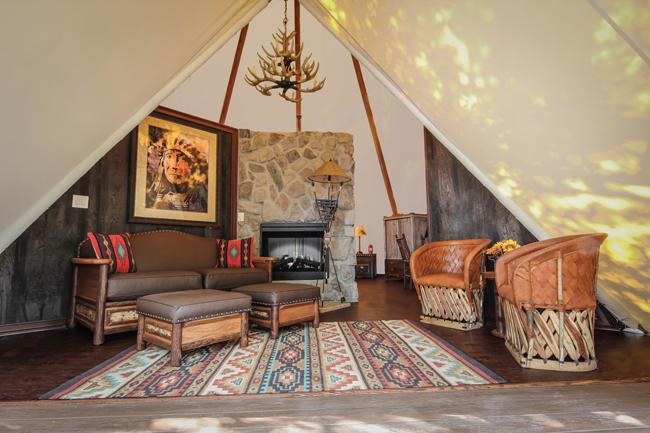 The interior of one of Westgate River Ranch Resort & Rodeo new Luxe Teepees in River Ranch, Florida.