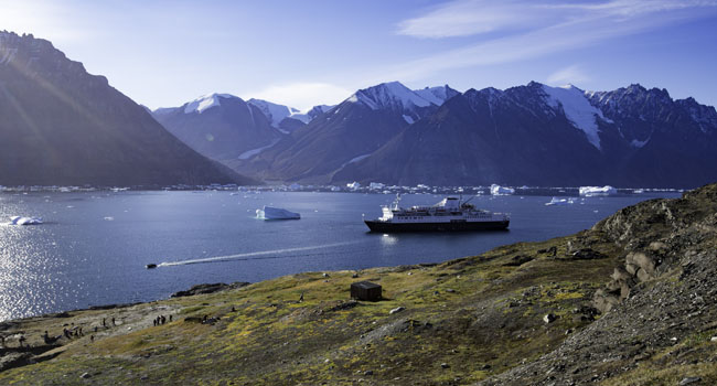 Adventure Canada'sOcean Endeavour in the Northwest Passage. (Photo credit: Dennis Minty)
