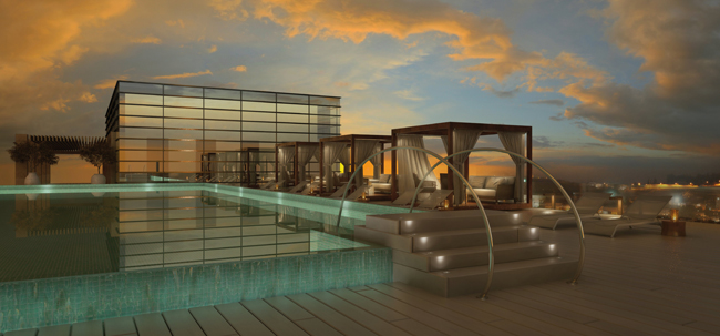 A rendering of the rooftop pool at the upcomingThe Orient – Isrotel Exclusive Collection, Jerusalem.