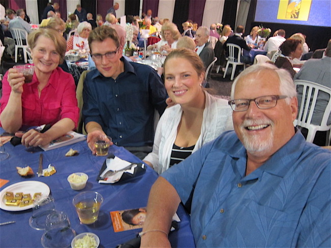 Harry, his wife and children enjoying Lake Oswego Rotary Club's Annual Lobster Feed and Auction in Oregon.