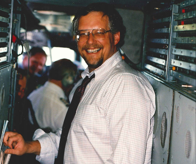 Harry on board the Concorde in 1990.