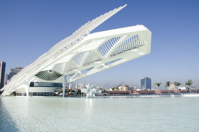 The exterior of the Museu do Amanha (Museum of Tomorrow) in Brazil. (Photo credit: Byron Prujansk)