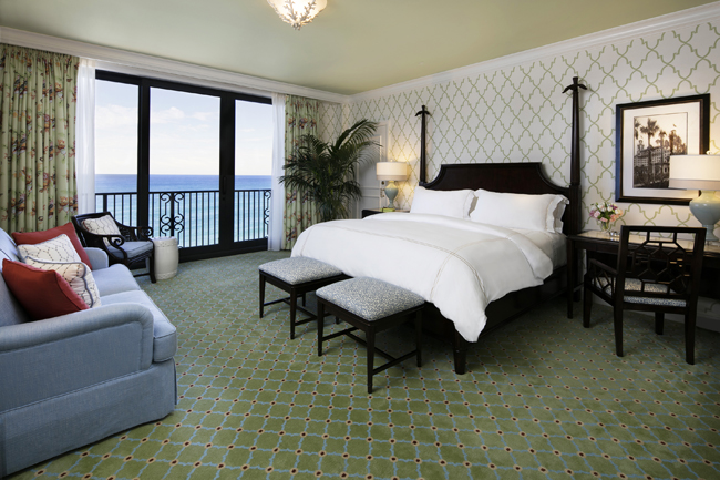 An oceanfront suite at The Breakers in Palm Beach.