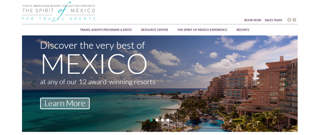 A screenshot of Fiesta Americana Resort's new travel agent portal.
