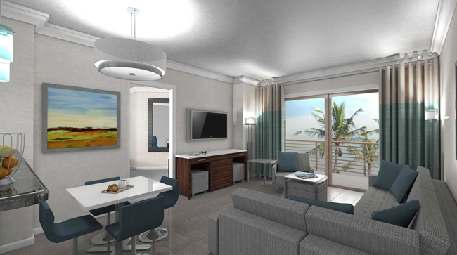 A rendering of a guestroom at The Grove Resort & Spa in Orlando.