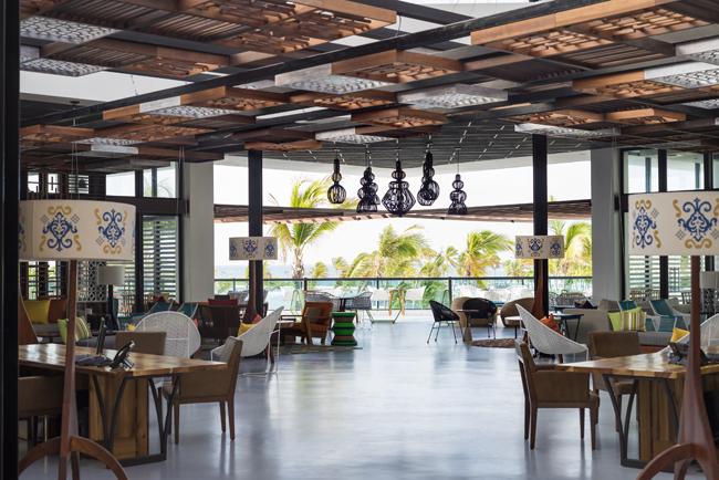AlSol Tiara Cap Cana's open air lobbyin Punta Cana, Mexico.