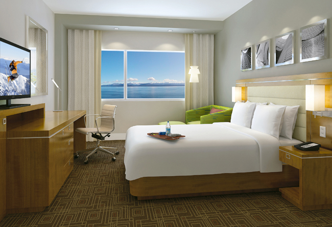 A rendering of a guestroom at the upcoming Hampton by Hilton Bariloche in Argentina.