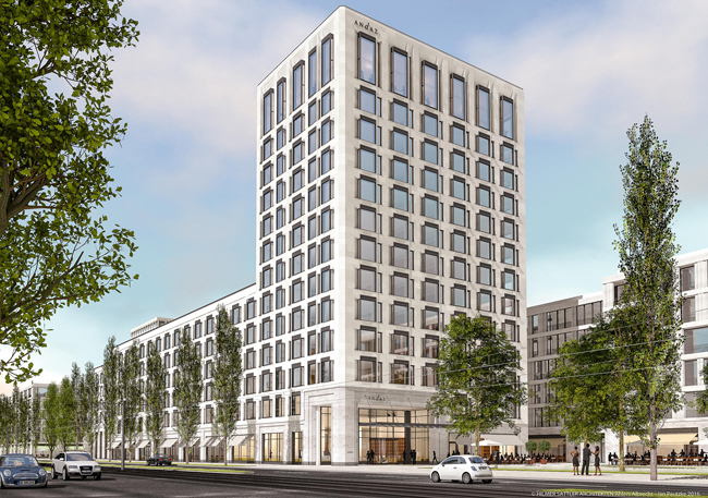 A rendering of the upcoming Andaz Munich in Germany.