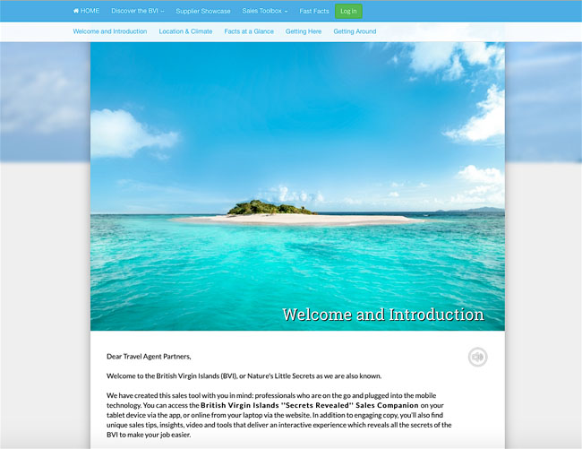 A screenshot of the British Virgin Islands Tourist Board's new BVI Secrets Revealed Travel Agent Specialist Program website.