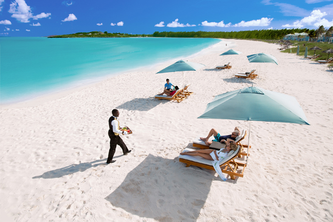 Beachside service at Sandals Emerald Bay.
