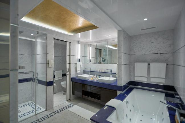 A luxurious suite bathroom onboard theRegent Seven Seas Explorer.