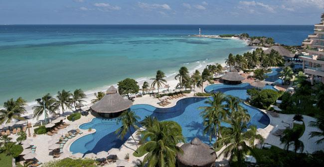 An aerial shot ofGrand Fiesta Americana Coral Beach Cancun in Mexico.