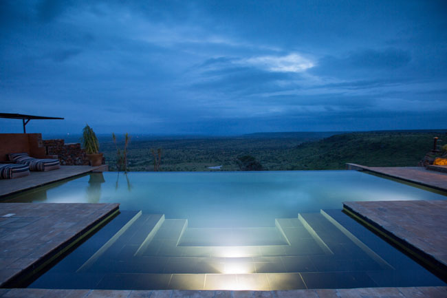 The view from the new Loisaba Tented Camp's infinity pool in Kenya.