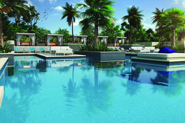 Rendering of the main pool at UNICO's new hotel set to open in 2017 in the Riviera Maya.