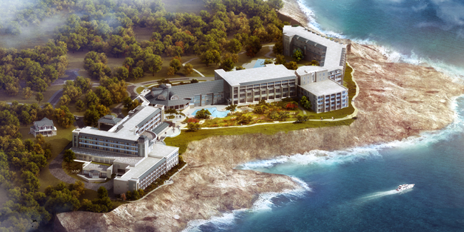 A rendering of the Cliff House hotel opening next month in Neddick, Maine.