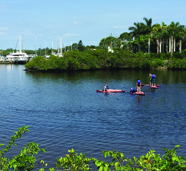 Guests can enjoy paddleboarding on the St. Lucie River. (Michelle Arean)