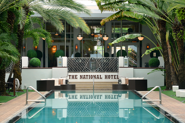 The pool at the National Hotel Miami Beach.