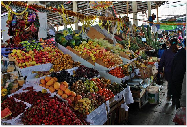The San Pedro Market in Cusco.