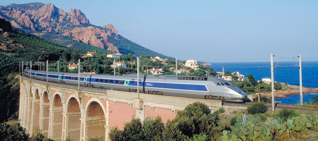A TGV train in Cote Azur. France.