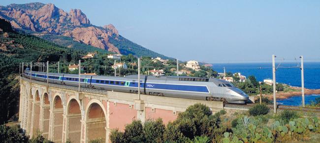 A TGV train in Cote Azur. France.