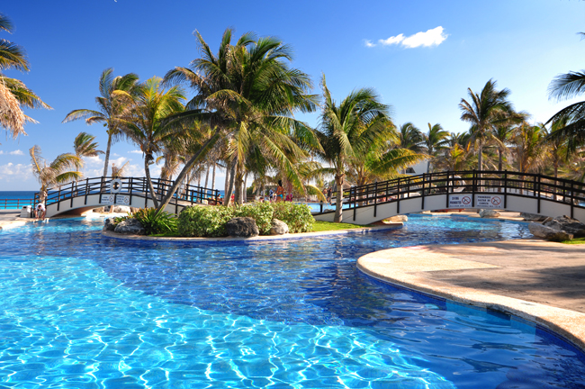 Poolside at Grand Oasis Cancun in Mexico.