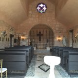 The inside of the quaint church at Altos de Chavon.