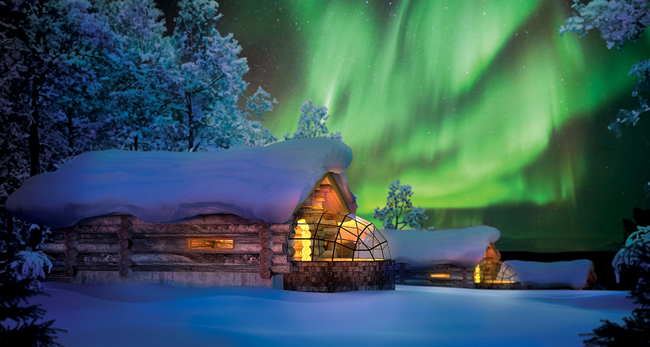 Guests on Alexander+Roberts' new Finland tours have the opportunity to stay in a private cabin attached to a glass igloo at the Kakslauttanen Arctic Resort.