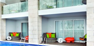 Swim-up Flat Suites are one of many accommodation styles.