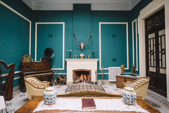 Guests can lounge by thefireplace atCasa Wirth in Salto, Uruguay.