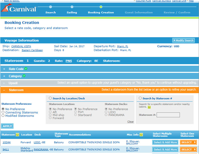 A screenshot of Carnival's enhanced website.
