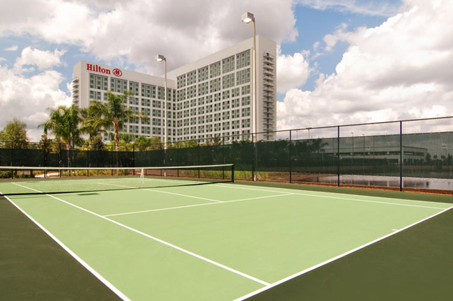 The tennis court at the Hilton, Orlando.