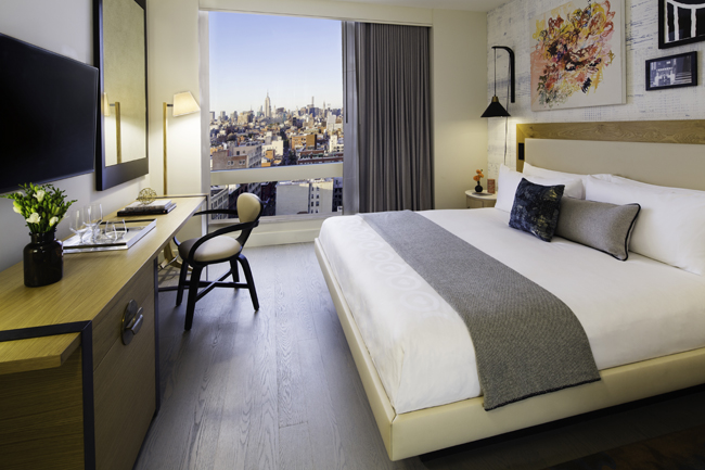 A model room at the soon-to-open Hotel 50 Bowery in New York.