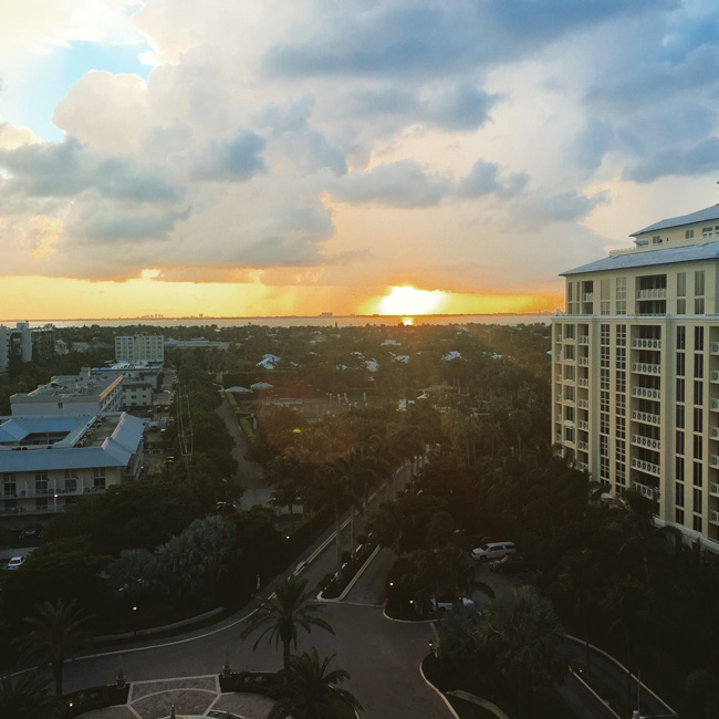 Watching the sun descend over Key Biscayne from an Island View guestroom.