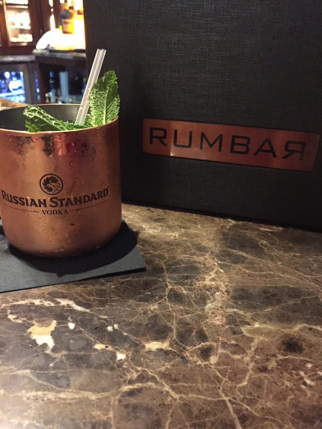 A Moscow Mule cocktail at Rumbar.