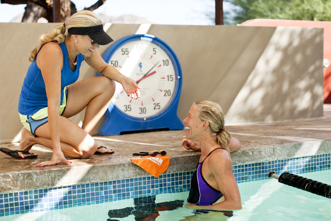 The 3-day Triathlon Training package at the Sanctuary on Camelback Mountain in Scottsdale, Arizona features a swimming lesson led by 200-hundred-meter butterfly Olympic champion Misty Hyman seen here.