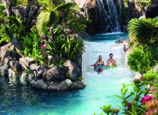Grand Wailea in Maui offers nine pools, waterslides, waterfalls and caves.