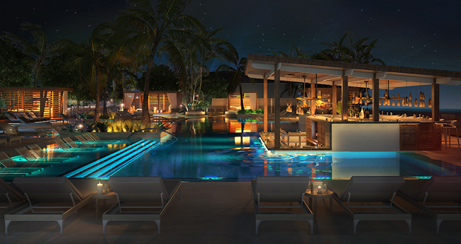 A rendering of the VIP pool at the upcoming UNICO Hotel Riviera Maya in Mexico.
