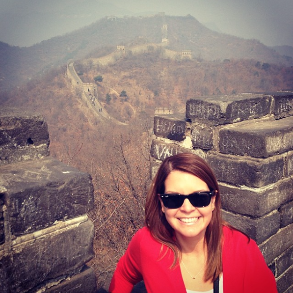 Diana at the Great Wall of China.