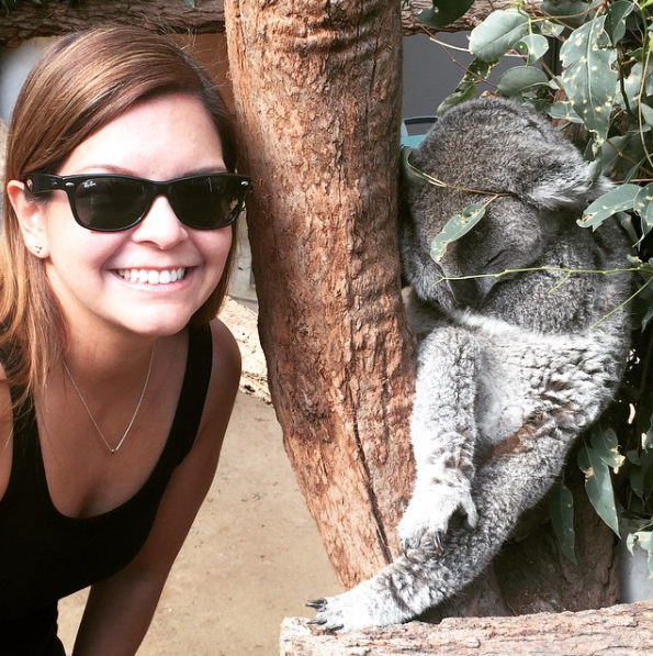 Diana Plazas meeting a koala in Sydney.