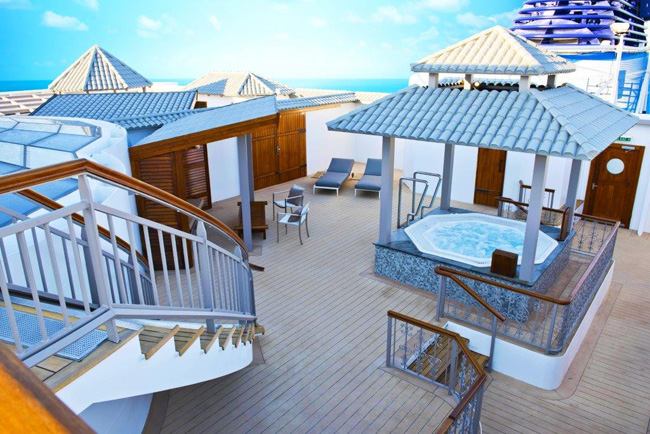 Norwegian Cruise Line's Norwegian Dawn received major renovations after a month-long dry dock including a complete makeover to the ship's two signature Garden Villas (seen here).