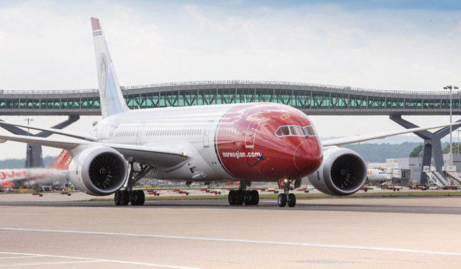 "Norwegian's 787 ""Dreamliner"" at Gatwick Airport in London. (Photo credit: Steve Bates)"