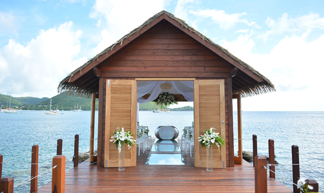 Sandals Resorts has unveiled the firstoverwater chapel in the Caribbean available forreservationsat Sandals Grande St. Lucian.