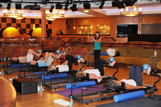 Pilates class on board Crystal Serenity.