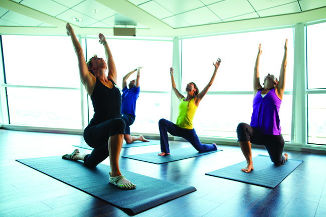 Yoga class on board Celebrity Silhouette.