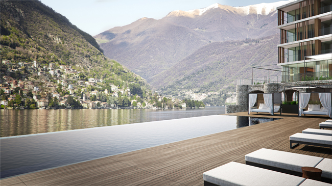 The pool at Il Sereno, Lago di Como in Lake Como, Italy.