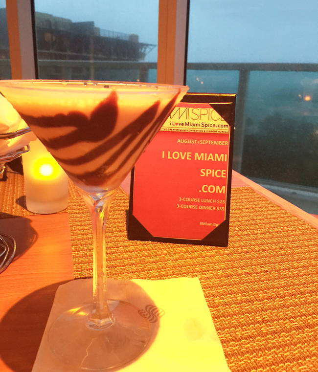 The chocolate martini at the Sonesta Coconut Grove Miami and views of Biscayne Bay.