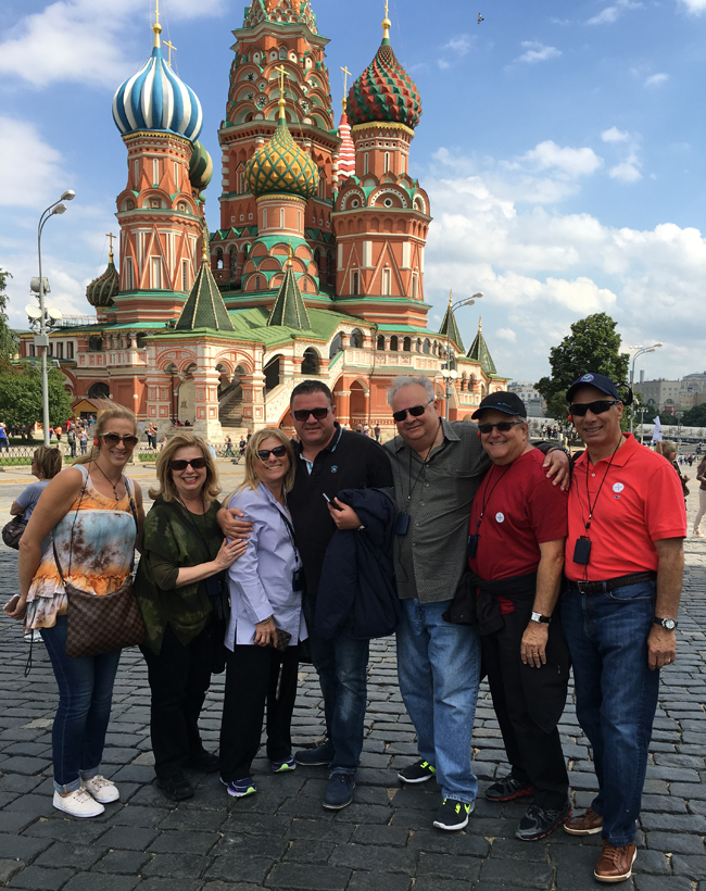 Lisa with her husband and friends in Moscow.