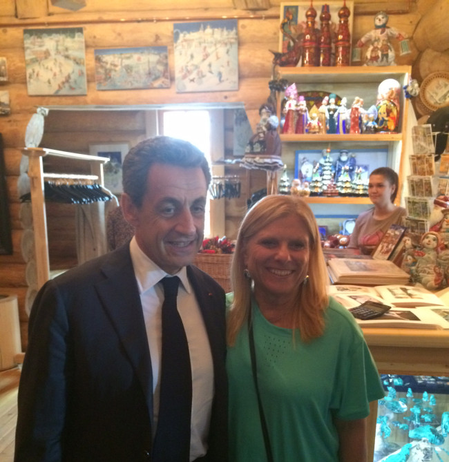 Lisa meeting Nicolas Sarkozy, the former President of France.